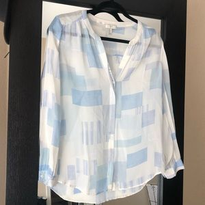 Joie sheer blue and white blouse